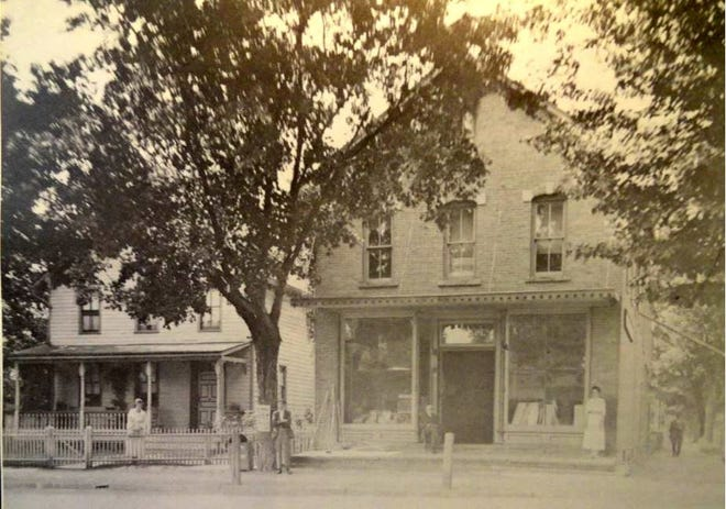 W. & G. Mitchell's general store, at the corner of Broad and West Ann Streets, Milford, Pa., circa 1900. (Photo from Lawrence G. Foster published in Heritage 250.) /Heritage 250