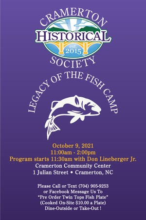 """The Cramerton Historical Society will be sponsoring a """"Legacy of the Fish Camp"""" program this Saturday."""