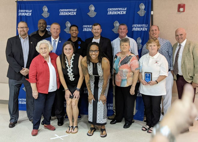 The 2021 Cherryville Sports Hall of Fame's 2021 class of inductees pose for a picture Oct. 2 during a banquet honoring the city's rich sports past.