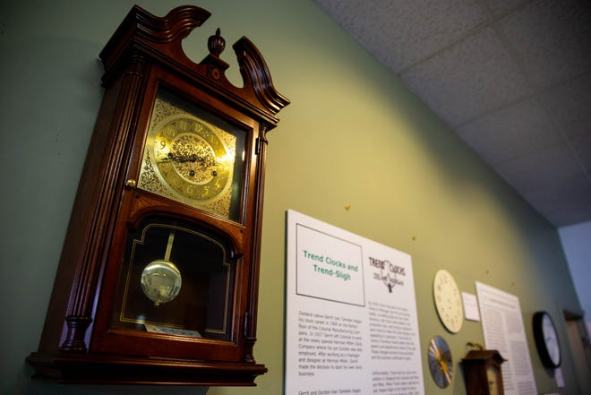 Historical clocks hang on the wall as part of the One Small Town, Four Major Clockmakers exhibit Wednesday, Oct. 6, 2021, at the Dekker Huis Museum located at 37 East Main Avenue in Zeeland.