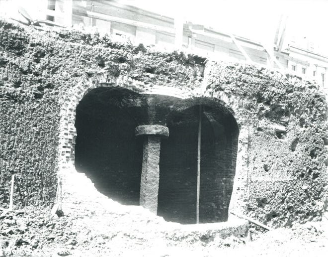 This is an old fire reservoir in Maverick Square found in 1900. Learn more at the Boston City Archives (https://cityofboston.access.preservica.com).