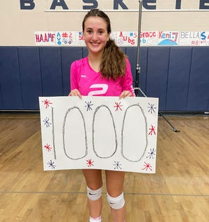 Boyne City sophomore Ava Tarsi has been busy on the court through two years and on Tuesday night against East Jordan, topped 1,000 career sets in victory in the annual Side-Out Against Cancer night.