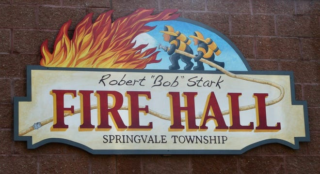 This sign is part of Springvale Township's dedication of its fire hall to late fire chief Robert (Bob) Stark.