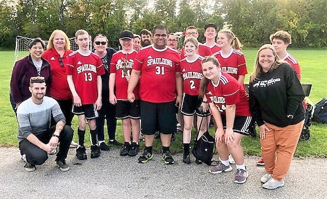 The Spaulding High School co-ed Unified soccer team remained undefeated with a 14-4 win over Concord on Tuesday. Cole Shepard, Conner Morin and David Olson all scored three goals for the Red Raiders, while TJ Hill and Ephraim Hanks each had two, and Andre Saranglao had one. Spaulding goalie David Olson had 10 saves. Defensively, Katy Archambault, Rylie Dore, Lily Hunt and Sage Gates all starred.