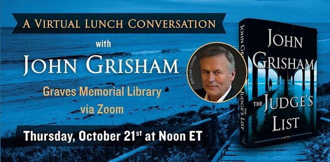 Kennebunkport Library is hosting a virtual lunch conversation with author John Grisham on Oct. 21.