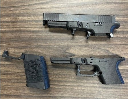 This image from Hopewell Police show the handgun that a city teenager allegedly built at his residence using a 3D printer. Police said the top half of the weapon was made from spare gun parts, and the bottom half with the grip and trigger were made by the printer. The juvenile accidentally shot himself in the leg with the homemade weapon.