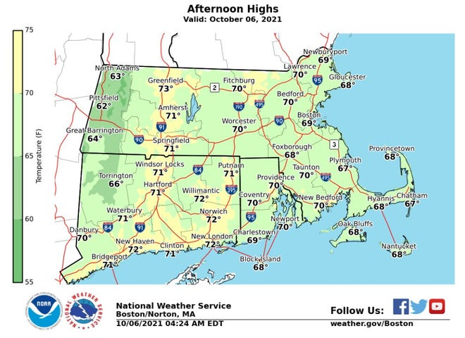 The temperature should reach 70 or higher in much of Southern New England, according to the National Weather Service.