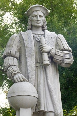 A statue of Christopher Columbus in Wilcox Park in Westerly.