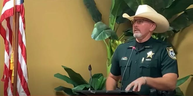 Manatee County Sheriff Rick Wells speaks Sept. 21 at a meeting of the Manatee Patriots. He advised the members to vote against extending a 1 mill tax for schools.