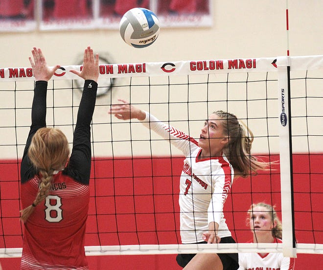 Macey Burgess of Colon sends a kill attempt across the net in prep volleyball action against Bellevue on Tuesday.