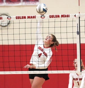 Megann Mullins of Colon registers a kill against Bellevue on Tuesday evening.
