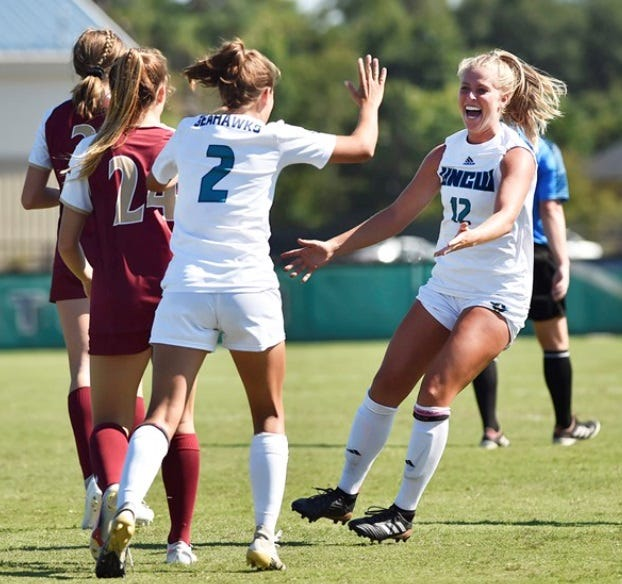 Carey Allard (12) and UNCW women's soccer have allowed only one goal since Labor Day and are 2-0 in the Colonial Athletic Association.
