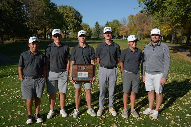 Aberdeen Roncalli's boys golf team consisting of Jesse Hernandez, Finn Anderson, Mason Carrels, Sawyer Henrich, Andrew Gerlach, and head coach Jon Murdy finished fourth overall at the Class A state golf championship this Tuesday. Courtesy of South Dakota Public Broadcasting.