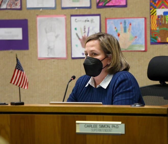 Alachua County Public Schools Superintendent Carlee Simon speaks during an Oct. 5 meeting of the School Board.