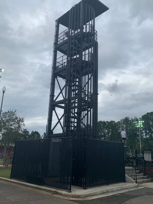 The director tower at JSU's Bennett Field was dedicated in honor of DeLeath Rives on Tuesday.