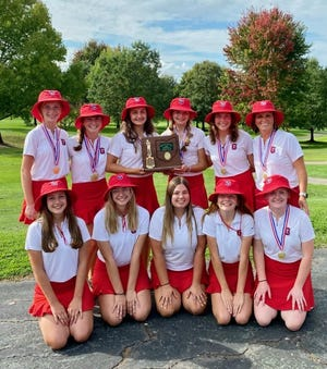 The sophomore laden Garaway High School girls golf team are tied for third place after the first round of the Girls Division II State Championship.