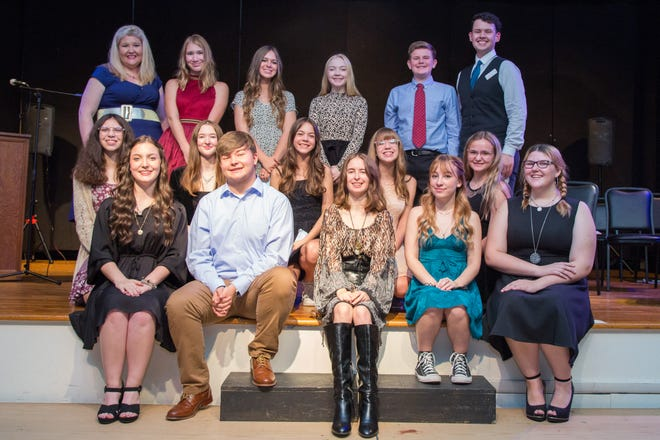 Community School of the Artsinducted 16 of its students into the International Thespian Society on Oct. 3. Pictured are inductees, (front row, from left) Carolyn Young; Brooks Harrison; Emerald Baker; Brianna Belt; Ryane Brazeal; (second row) Lily Entrekin; Sarah Goodman; Elizabeth Marine; Ellie Grinnell; Mylea Holmes; (top row) Shannon Stoddard, director of theater; Emmy Justice; Natalie Marine; Katie Schluterman; Xander Smith; and Cody Walls, troupe director. Not pictured: Kelsey Durham and Brayden Graham.