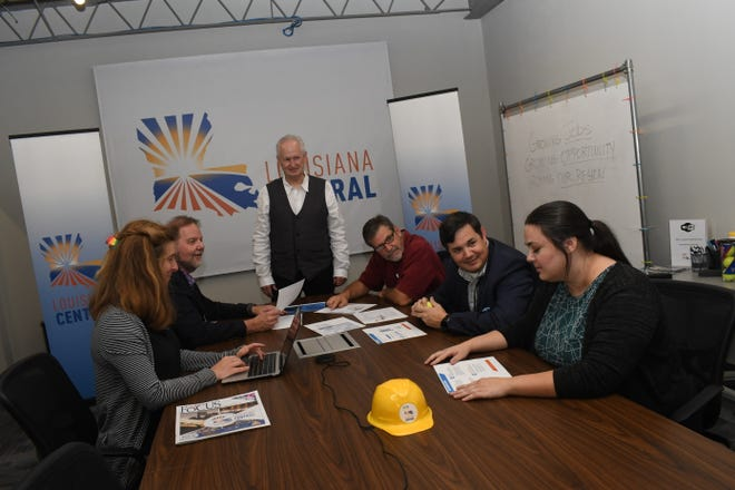 Audrey Kolde (far left), director of farm to market operations; Lafe Jones, executive director of industry relations; Jim Clinton, president; Gary Perkins, executive director of business acceleration system; Larkin Simpson, vice president;  Sarah Ceballos, administrative director and Bahia Nightengale (not pictured) make up the team at Louisiana Central.