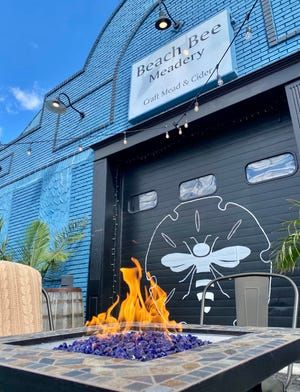 Firepit table outside at Beach Bee Meadery in Long Branch, New Jersey.