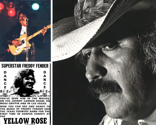 Musician Freddy Fender in 1999 (top left) and 1979 (right). An advertisement (bottom left) from the Sept. 21, 1979 Corpus Christi Caller announced Fender's performance at the Yellow Rose Convention Center.