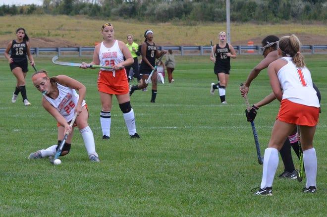 Cumberland junior Laura Bowen winds up for a shot against Deptford