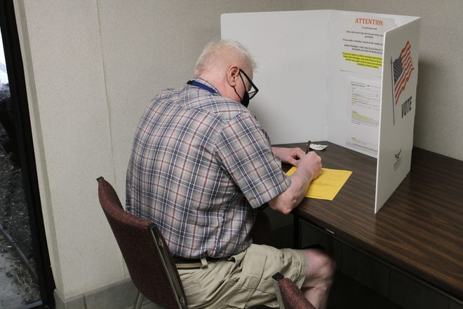 Robert Platt, 66, of Fremont, stopped by the Sandusky County Board of Elections, for early voting on Wednesday. There were just 18 people that showed up for early voting on Tuesday, the first day for early voting in Ohio, at the board's office