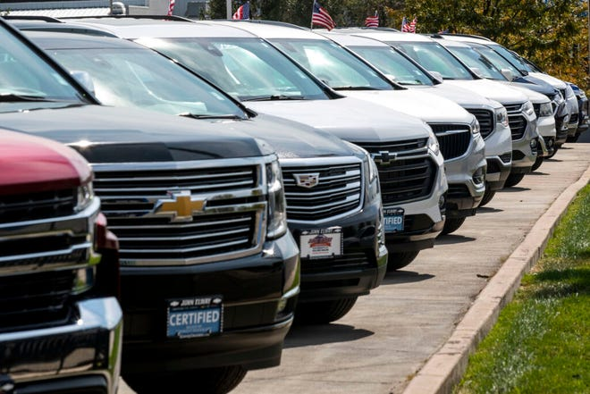 Trucks and SUVs for sale at John Elway Chevrolet in Englewood on Sept. 28, 2021.