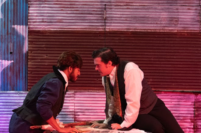 """George Swarn, as David Herold, and Ryan Shreve as John Wilkes Booth, who shot Abraham Lincoln, rehearse the musical """"Assassins"""" at Theatre 166 on Tuesday night."""