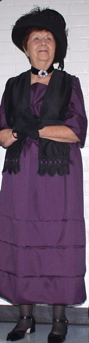 Jan Augenstein shows off her Florence Harding attire as she will play the Marion president's first lady during a 1920s-themed event at Heritage Hall on Oct. 16 hosted by the Marion County Historical Society.