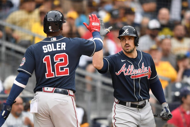 Jorge Soler and Adam Duvall, both acquired by the Braves at the trade deadline, helped Atlanta accumulate 239 home runs, third-most in the majors.