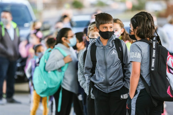 Students from Jornada Elementary prepare walk to school as part of the Las Cruces Public Schools' Safe Routes to School program's Walk to School Days in Las Cruces on On Wednesday, Oct. 6, 2021.