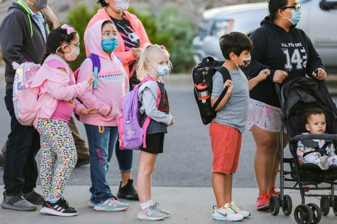 The week of Sept. 29 to Oct. 5, Las Cruces Public Schools reported 48positive COVID-19 tests. Students from Jornada Elementary prepare walk to school as part of the Las Cruces Public Schools' Safe Routes to School program's Walk to School Days in Las Cruces on On Wednesday, Oct. 6, 2021.