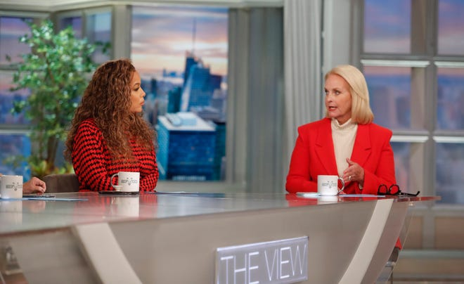Sunny Hostin and Cindy McCain talk on 'The View' on Oct. 6, 2021. McCain was a guest co-host.