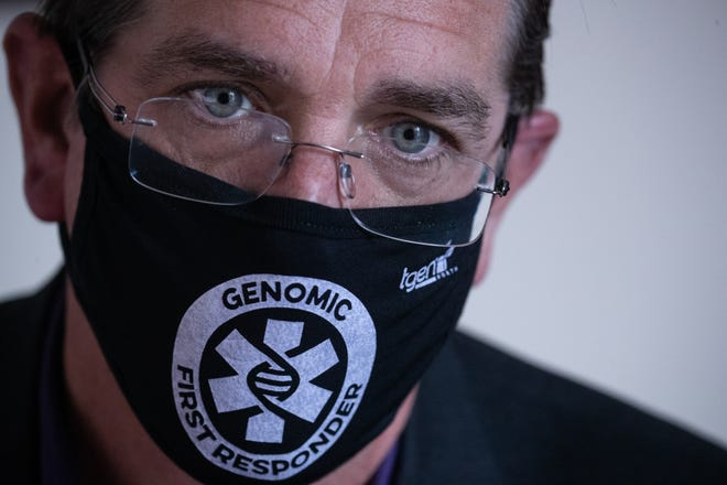 Dr. David Engelthaler, director of the Pathogen Genomics Division at the Translational Genomics Research Institute, at TGen North in Flagstaff on Oct. 4, 2021.