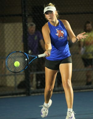 San Angelo Central's Trinity Pfluger hits a forehand during a match against Abilene High at the Tut Bartzen Tennis Complex on Tuesday, Oct. 5, 2021.