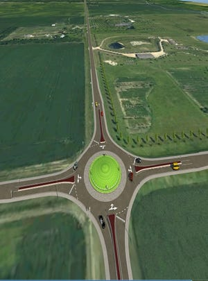One of two proposed roundabouts at a busy intersection located about 2.0 miles north of Harrisburg or 4.5 miles east of Interstate 29.