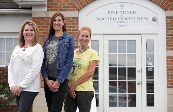 Andrea Hetzel of Soul Points, Erica Forgus of Fine Tuned and Carol Dunn of Rooted in Wellness pose for a photo outside their shared wellness studio in Twinsburg.
