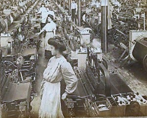 The weaving room at a North Carolina cotton mill in 1909.