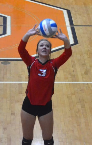 Cloe Ehrke (3) and the Onaway Cardinals fell short in a Ski Valley loss to Johannesburg-Lewiston on Tuesday.