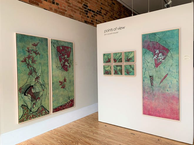 """Kim Covell Maurer's """"Points of View"""" at Studios on High Gallery. The small series is titled """"Crossing Borders,"""" and the large pieces are titled (from left to right) """"Reinforcements,"""" """"Incoming (Ten Steps Back),"""" and """"Circle the Wagons' (Hystera)."""""""