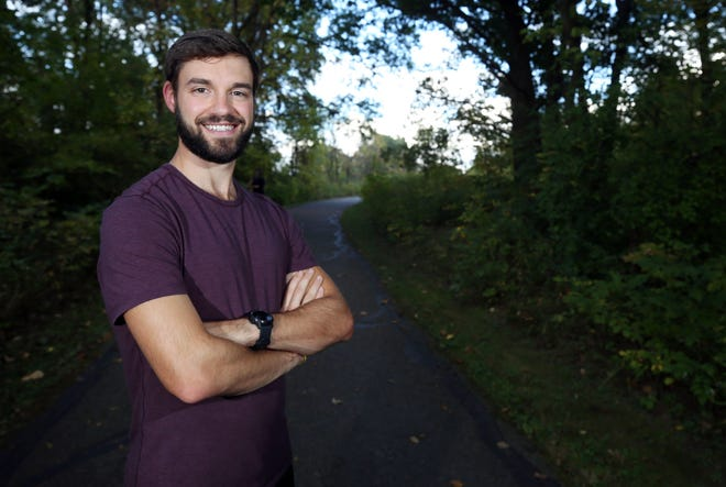 Westerville North High School alumnus Kevin Ford, shown Oct. 6 at Sharon Woods Metro Park, where he trains, will run around the school's track for 24 hours, starting at 9 a.m. Oct. 16. The goal is to run 120-plus miles as part of a fundraiser for the Westerville Education Challenge and its mission of suicide prevention via the Hope Squad. Ford's father committed suicide in 2010.