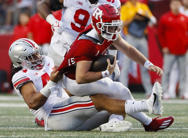 Ohio State's J.T. Tuimoloau has received an increasing amount of playing time as the season has gone along, including against Rutgers where he brought down Scarlet Knights quarterback Cole Snyder.