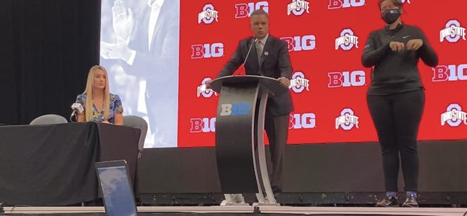 Ohio State men's basketball coach Chris Holtmann speaks at Big Ten media day in Indianapolis on October 7, 2021.
