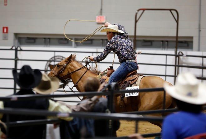 Brady Schaad riding Cee Doc Genuine Jule during the youth calf roping competition Thursday at the All American Quarter Horse Congress, which attracted 25,000 horse show entries. Schaad won this particular event.