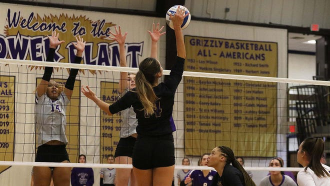 Dodge City CC volleyball player, Hillary English skies for a kill against North Platte in a home triangular as the Conquistadors picked up a pair of wins.