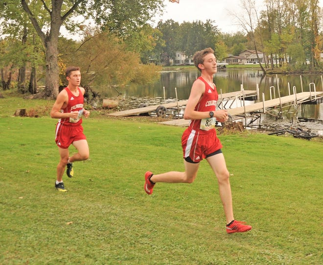 Coldwater's Ethan Parker (left) and James DeWitt (right) run together during the Interstate 8 Jamboree on Tuesday