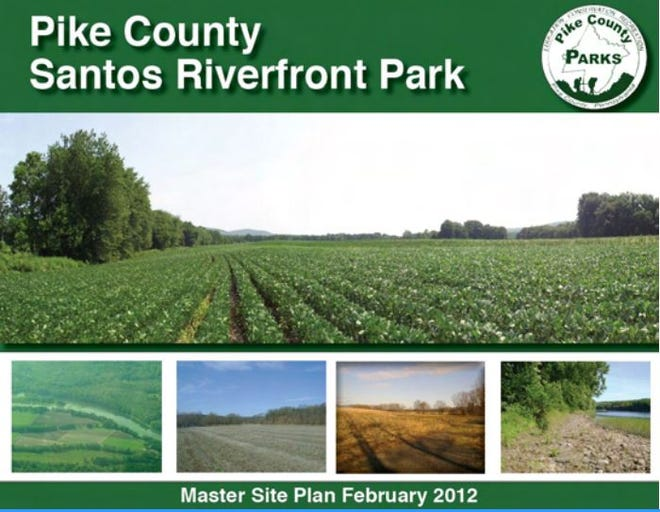 Pike County's Santos Riverfront Park property is an 88 acre parcel along the Delaware River in Milford Township which the county plans to develop as a park. The former Santos farm tract was purchased in 2007. A Master Site Plan was published in 2012. The county still needs to find funding to develop an access road from Route 6/209. Photo illustration: Pike County, PA