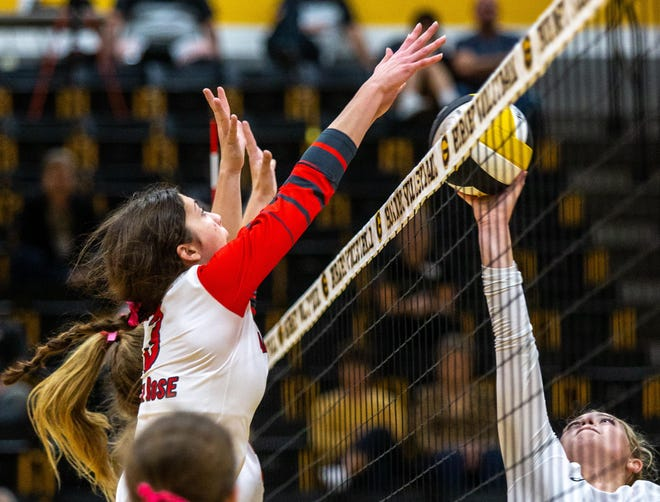 Glen Rose middle blocker Ava Sehnert defends the net in the Lady Tigers' five-set loss to Gatesville on Tuesday night.