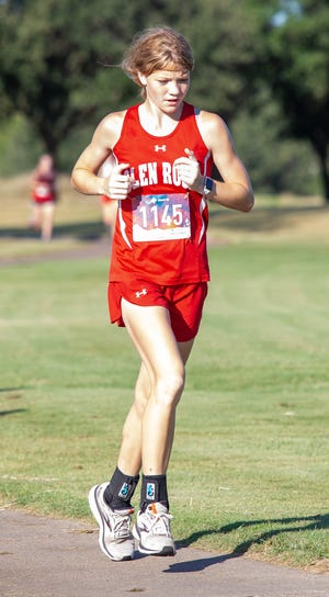 Glen Rose's Alexis Rynders, seen here in action earlier in the year at the Glen Rose Invitational at Squaw Valley Golf Course, placed 17th overall at the Thrill of the Hill meet in Stephenville on Wednesday with the time of 13.19, breaking her old personal record by 26 seconds.