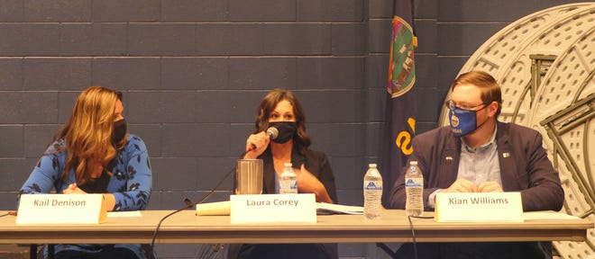Hutchinson Schools Board of Education candidates Kail Denison, incumbent, Laura Corey and Kian Williams answer questions during a candidate forum at 7 p.m. Oct. 5 at Hutchinson Community College.